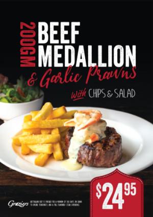 Beef Medallion & Garlic Prawns $24.95