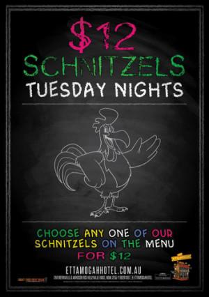 Tuesday $12 Schnitzels
