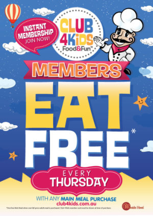 Club 4 Kids Members Eat Free Thursdays