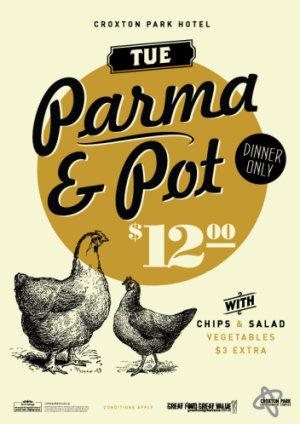 Tuesday $12 Parma & Pot