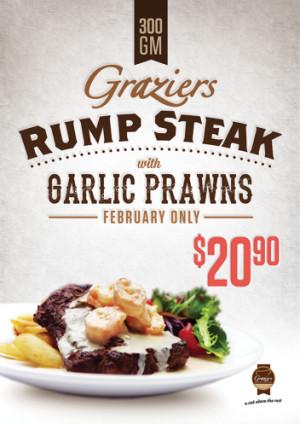 $20.90 Graziers 300g Rump Steak with Garlic Prawns