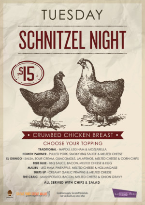 Tuesday $15 Schnitzel Night