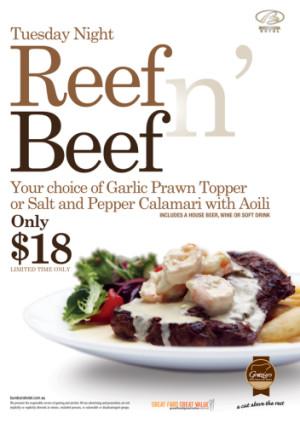 Tuesday $18 Reef n' Beef