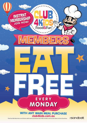 Monday Club 4 Kids Members Eat Free