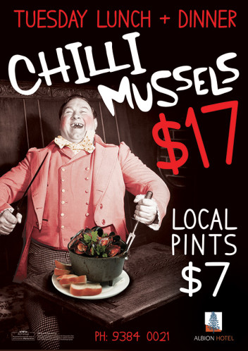 Tuesdays $17 Chilli Mussels