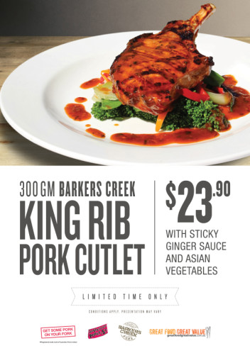 Barkers Creek King Rib Pork Cutlet with Sticky Ginger